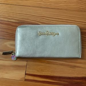 Lilly Pulitzer Cha Ching gold leather wallet